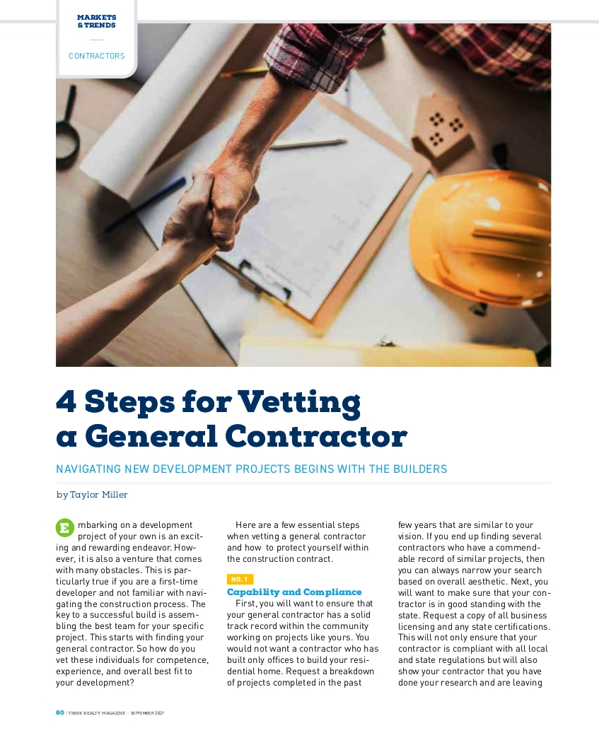 Think Realty Contractor Vetting Article
